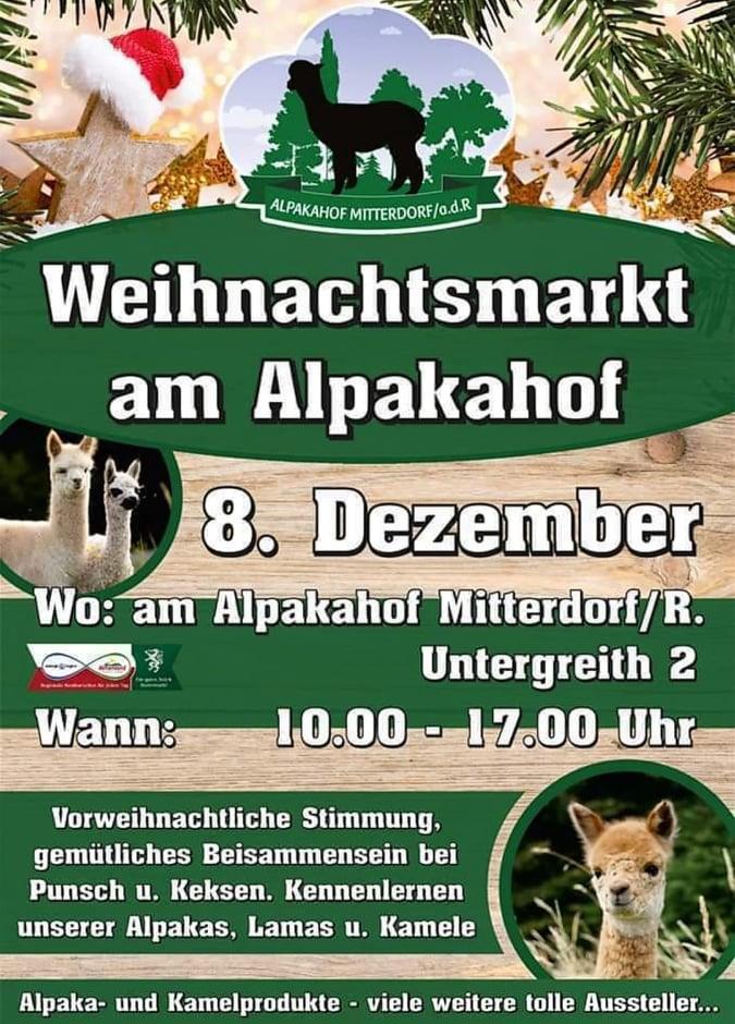 Weihnachtsmarkt am Alpakahof MItterdorf